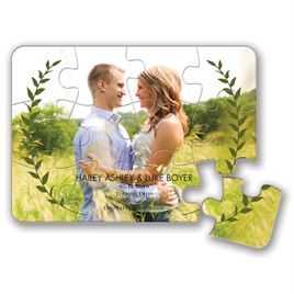 Save The Date Puzzles: Leaf Crest Save the Date Puzzle