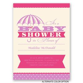 Polka Dot Rain - Petite Baby Shower Invitation