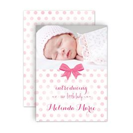 Baby Girl Birth Announcements: Faded Polka Dots Petite Birth Announcement