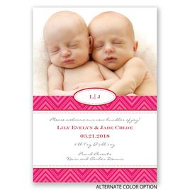 Pretty Chevron - Twins Birth Announcement