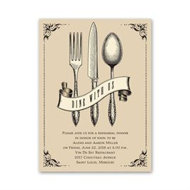 Dine with Us - Petite Rehearsal Dinner Invitation