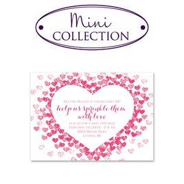 Baby Girl Shower Invitations: Heart Sprinkles Mini Baby Shower Invitation