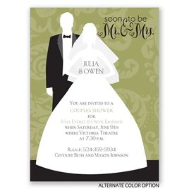 Modern Silhouettes - Petite Wedding Shower Invitation