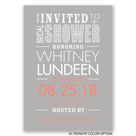 Jazzy Typography - Bridal Shower Invitation