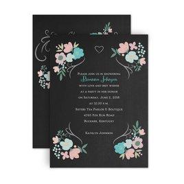 Bridal Shower Invitations: Chalkboard Floral Petite Bridal Shower Invitation
