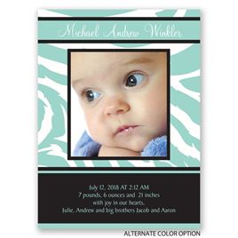 Zebra Stripes - Petite Birth Announcement