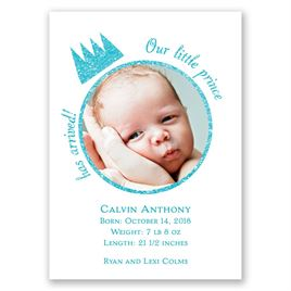 Our Little Prince - Faux Glitter - Mini Birth Announcement