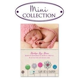 Baby Girl Birth Announcements: Buttons Mini Birth Announcement