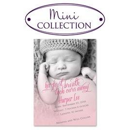 Baby Girl Birth Announcements: Her First Breath Mini Birth Announcement
