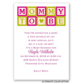 Mommy Blocks - Mini Baby Shower Invitation