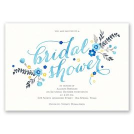 Heart and Whimsy - Celestial Blue - Bridal Shower Invitation