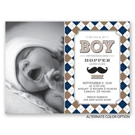 Mustache and Plaid - Petite Birth Announcement