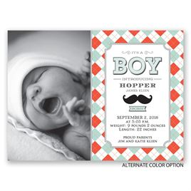 Mustache and Plaid - Petite Birth Announcement
