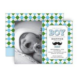Birth Announcements: Mustache and Plaid Petite Birth Announcement