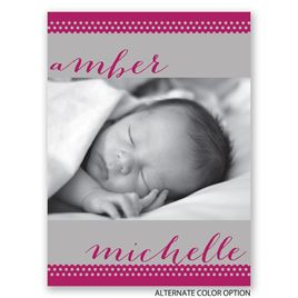 Polka Dot Borders - Petite Birth Announcement