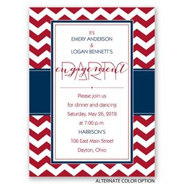 Sharp Chevron - Petite Engagement Party Invitation