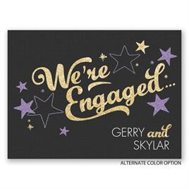 Sparkling News - Faux Glitter - Petite Engagement Party Invitation