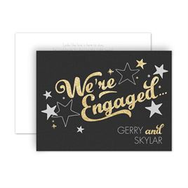Engagement Party Invitations: Sparkling News Faux Glitter Petite Engagement Party Invitation