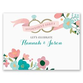 Retro Floral - Petite Engagement Party Invitation