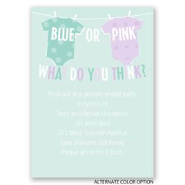 Blue or Pink - Mini Gender Reveal Invitation