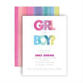 Gender Reveal Invitations: Watercolor Fun Petite Baby Shower Invitation