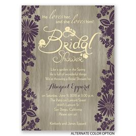 Flowers and Woodgrain - Petite Bridal Shower Invitation