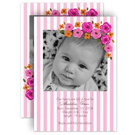 Baby Girl Birth Announcements: Flowers and Stripes Birth Announcement