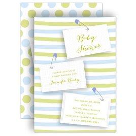 Boy Shower Invitations: Blue Diaper Pins Baby Shower Invitation