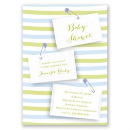 Blue Diaper Pins - Baby Shower Invitation