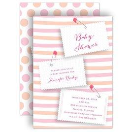 Baby Girl Shower Invitations: Pink Diaper Pins Baby Shower Invitation