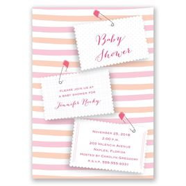 Pink Diaper Pins - Baby Shower Invitation