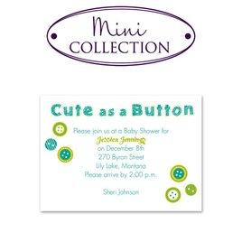 Baby Shower Invitations: Cute As A Button Mini Baby Shower Invitation