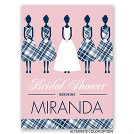 Bridesmaids in Plaid - Petite Bridal Shower Invitation