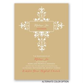 Ornate Cross - Baptism Invitation