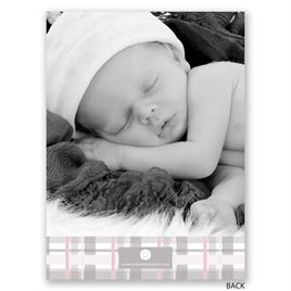 Plaid Cross - Petite Baptism Invitation