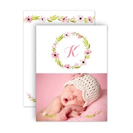 Baby Girl Birth Announcements: Fetching Flowers Petite Birth Announcement