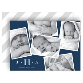 Birth Announcements: Monogram and Stripes Birth Announcement