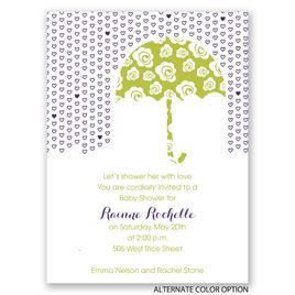 Rose Umbrella - Petite Baby Shower Invitation