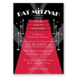 Red Carpet - Bat Mitzvah Invitation