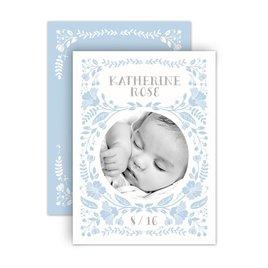 Baby Girl Birth Announcements: Floral Swirl Petite Birth Announcement
