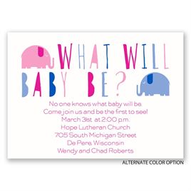 Elephant Fun - Mini Gender Reveal Invitation