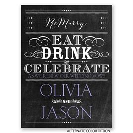 Chalkboard Celebration - Petite Vow Renewal Invitation