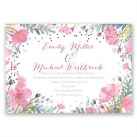 Pastel Floral - Silver - Foil Invitation