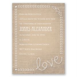 Stitched on Burlap - Petite Baptism Invitation