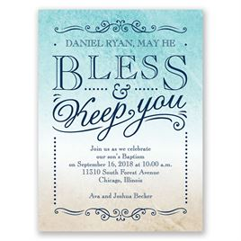 Bless & Keep You - Petite Baptism Invitation