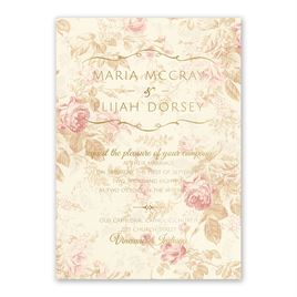 Antique Roses Foil Invitation
