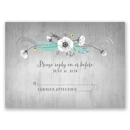 Rustic Floral - Silver - Foil Response Card