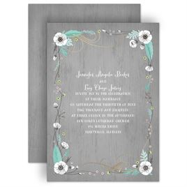 Marvelous Rustic Floral   Foil Invitation