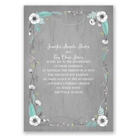 Rustic Floral - Silver - Foil Invitation