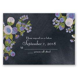 Chalkboard Peonies - Lavender - Response Card